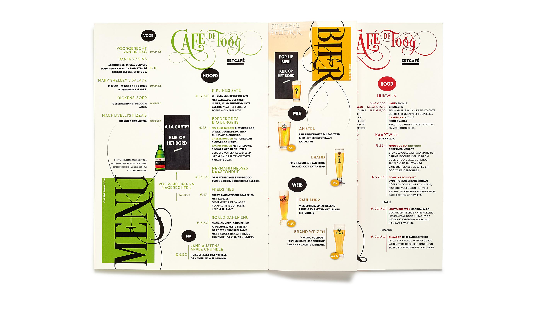 De Toog menukaart