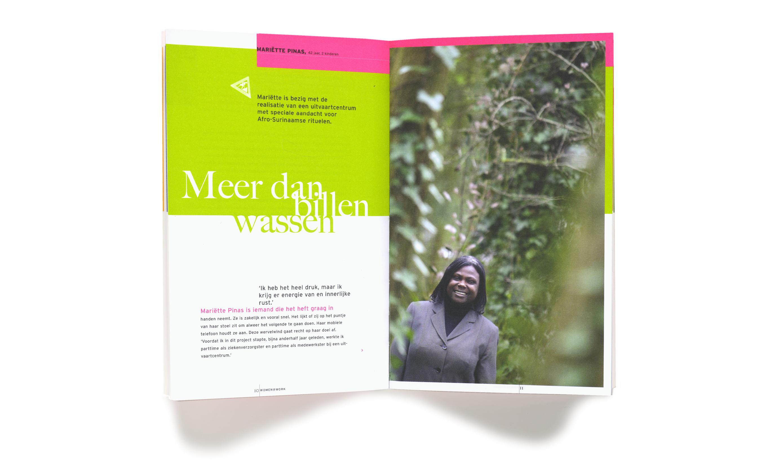pagina's uit het boekje 'sterke verhalen' voor Stadsdeel Zuidoost Amsterdam